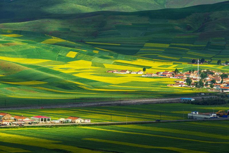 2017年8月15日,航拍青海省境内祁连山山脚下的农田。提升当地高原特色现代生态农牧业发展水平是拓展新业态的途径之一。(VCG)