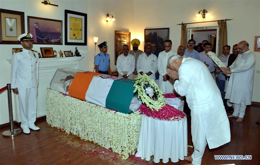 Indian Prime Minister Narendra Modi pays homage to the former Prime Minister of India Atal Bihari Vajpayee in New Delhi, India on Aug. 16, 2018. India's former Prime Minister Atal Bihari Vajpayee passed away on Thursday, according to a statement issued by the hospital where he was admitted. (Xinhua/ Stringer)
