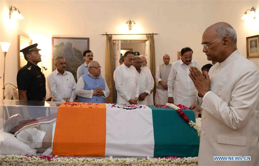 Indian President Ramnath Kovind pays homage to the former Prime Minister of India Atal Bihari Vajpayee in New Delhi, India on Aug. 16, 2018. India's former Prime Minister Atal Bihari Vajpayee passed away on Thursday, according to a statement issued by the hospital where he was admitted. (Xinhua/ Stringer)